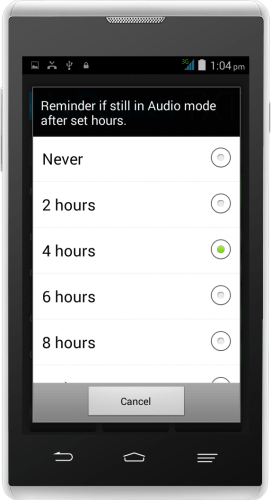 NoPowerTXT Audio Mode Reminder Frequency