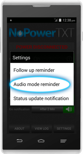 NoPowerTXT Audio Mode Reminder