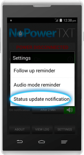 NoPowerTXT Status Update Notification