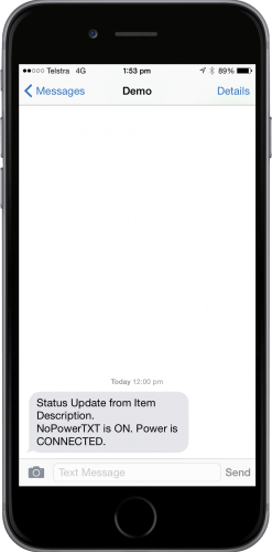 NoPowerTXT Status Update Message