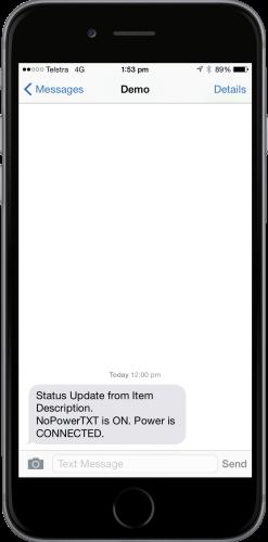 NoPowerTXT Status Update Message
