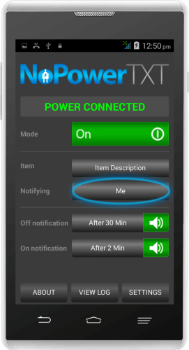 NoPowerTXT Notification